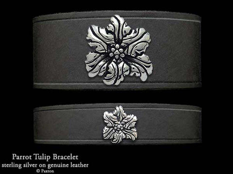 Parrot Tulip Flower on Leather Bracelet