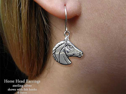Horse Head Earrings fishhook sterling silver