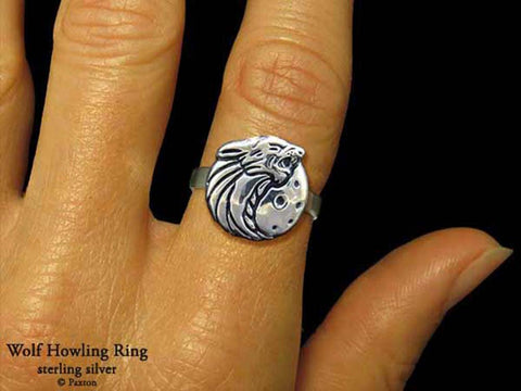 Wolf Head ring sterling silver