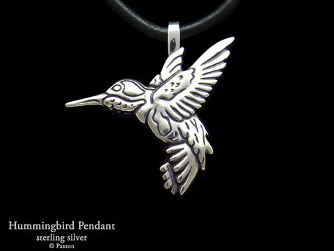 Hummingbird Pendant Necklace Sterling Silver