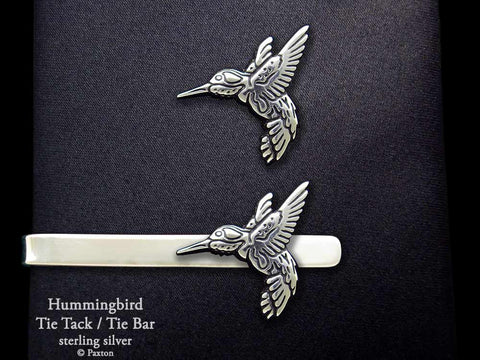 Hummingbird Tie tack Hummingbird Tie Bar sterling silver