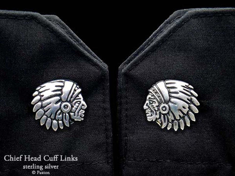Chief Head Cuff Links sterling silver