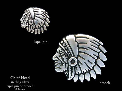 Indian Chief Head Lapel Pin Brooch sterling silver