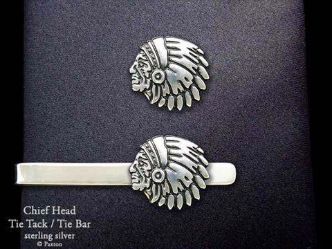 Indian Chief Head Tie Tack Chief Head Tie Bar sterling silver