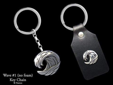 Ocean Wave Key Chain Sterling Silver