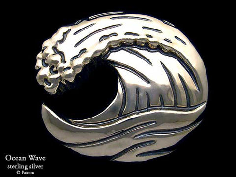 Ocean Wave Belt Buckle sterling silver