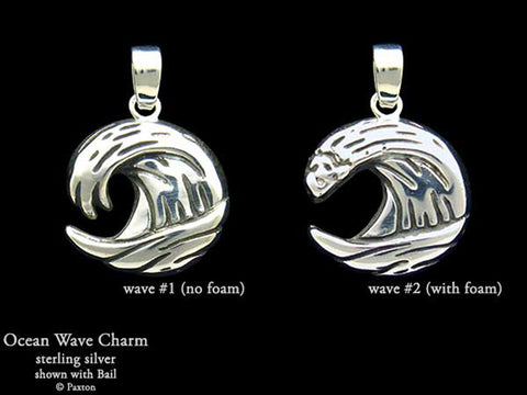 Ocean Wave charm necklace sterling silver