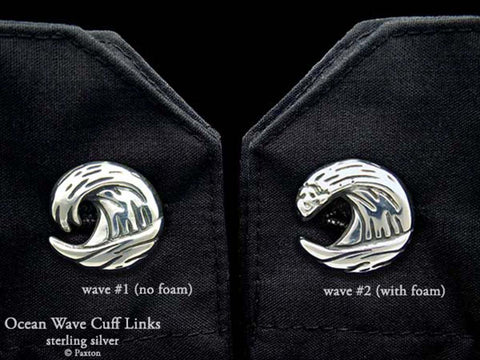 Ocean Wave Cuff Links sterling silver