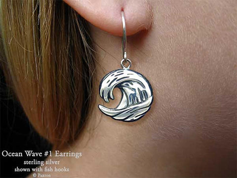 Ocean Wave Earrings fishhook sterling silver
