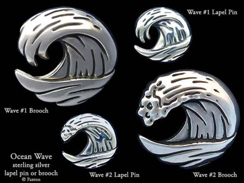 Ocean Wave lapel Pin Brooch sterling silver