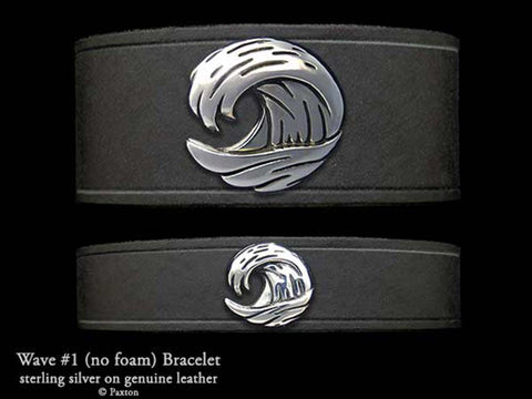 Ocean Wave on Leather Bracelet