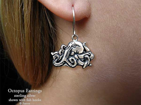 Octopus Earrings fishhook sterling silver