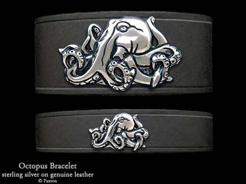 Octopus on Leather Bracelet