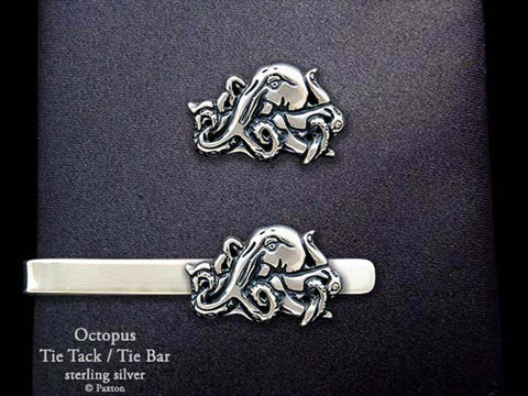 Octopus Tie Tack Tie Bar sterling silver