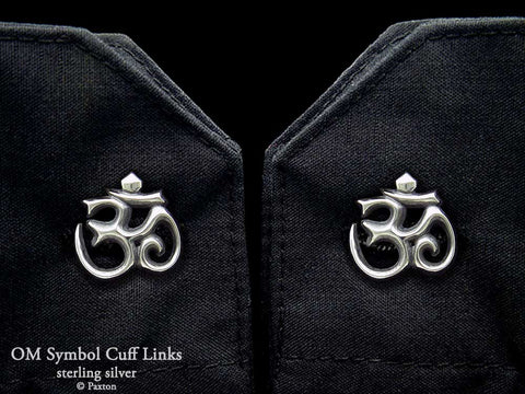 Om Symbol Cuff Links sterling silver