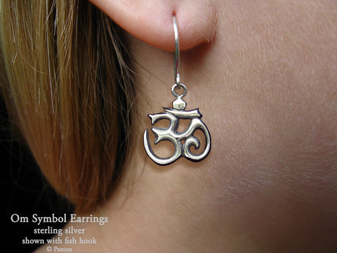 Om Symbol Earrings fishhook sterling silver