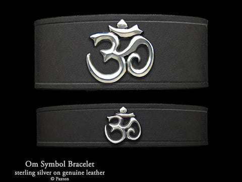 Om Symbol on Leather Bracelet