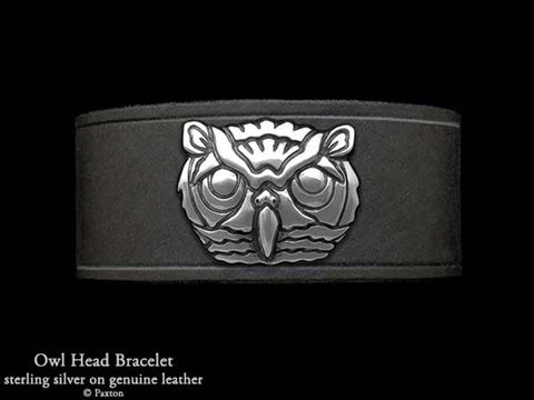 Owl Head on Leather Bracelet