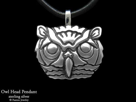 Owl Head Pendant Necklace sterling silver