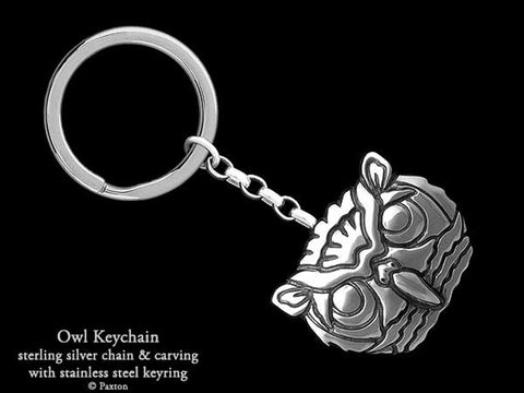 Owl Head Key Chain Sterling Silver