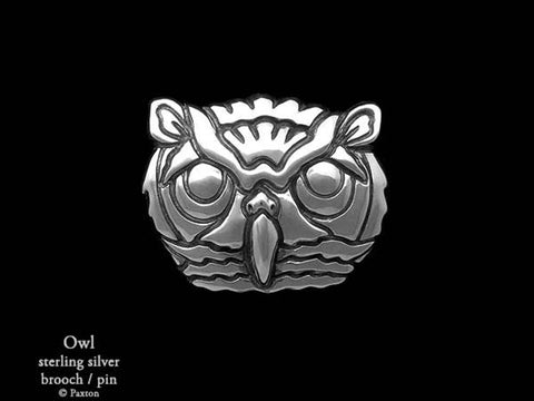 Owl Brooch Pin sterling silver