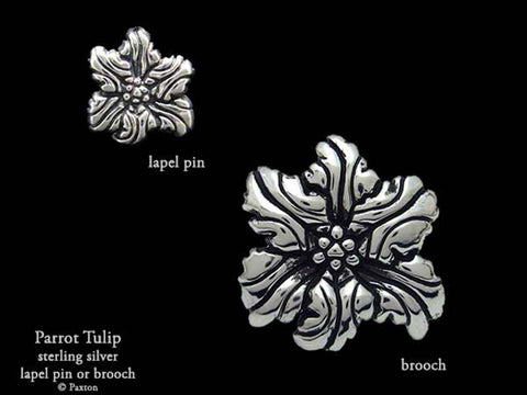Parrot Tulip Flower Brooch pin sterling silver