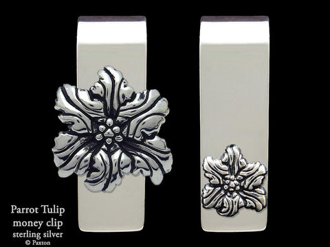 Parrot Tulip Flower Money Clip Sterling Silver