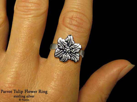 Parrot Tulip Flower ring sterling silver