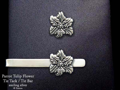 Parrot Tulip Flower Tie tack Tie Bar sterling silver