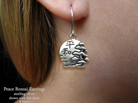 Peace Bonsai Earrings fishhook sterling silver