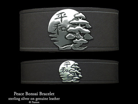 Peace Bonsai on Leather Bracelet