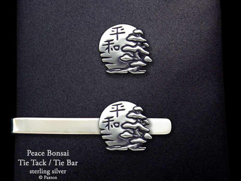Peace Bonsai Tie tack Tie bar sterling silver