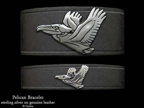 Pelican on Leather Bracelet