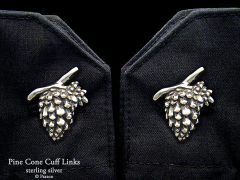 Pine Cone Cuff Links sterling silver