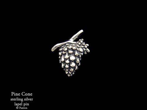 Pine Cone lapel Pin sterling silver