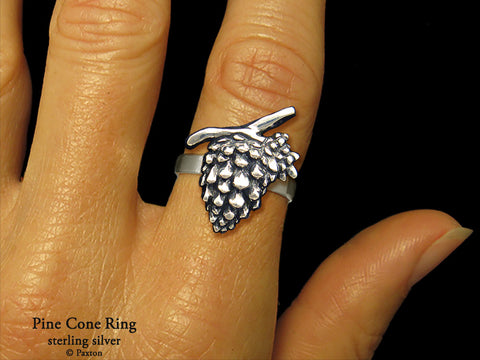 Pine Cone ring sterling silver