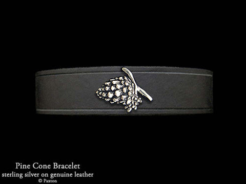 Pine Cone on Leather Bracelet