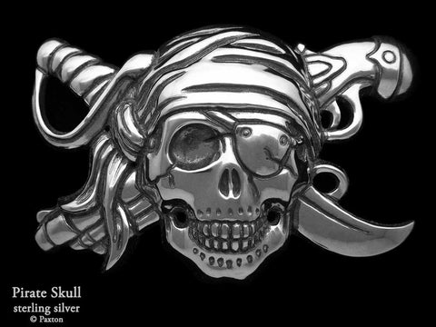 Pirate Skull Belt Buckle sterling silver