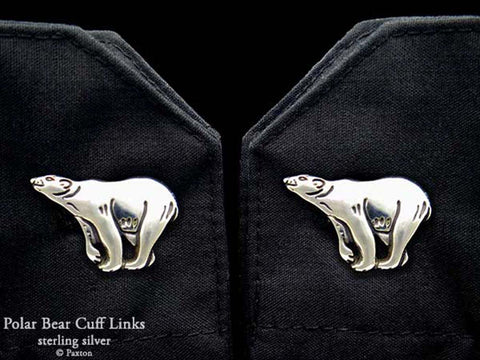Polar Bear Cuff Links sterling silver
