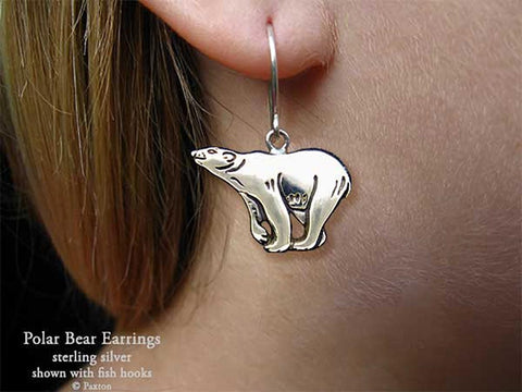 Polar Bear Earrings fishhook sterling silver