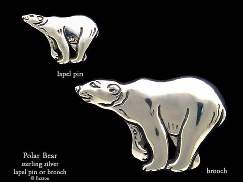 Polar Bear lapel Pin Brooch sterling silver