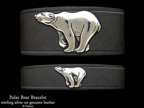 Polar Bear on Leather Bracelet
