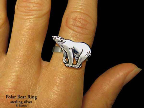 Polar Bear ring sterling silver