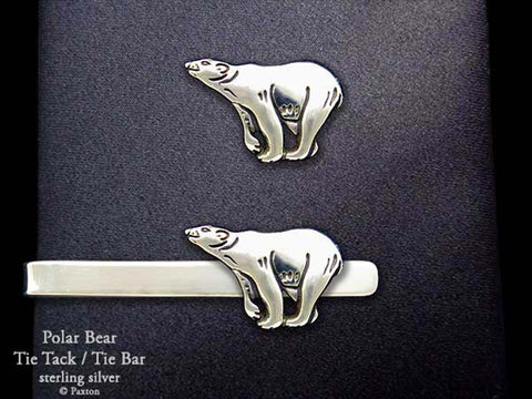 Polar Bear Tie tack Tie Bar sterling silver