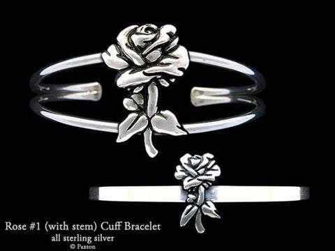 Rose #1 (with stem) Cuff Bracelet