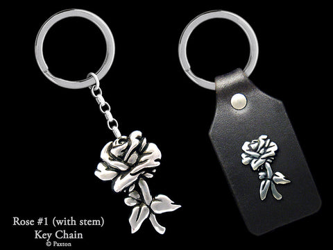 Rose Flower Key Chain Sterling Silver
