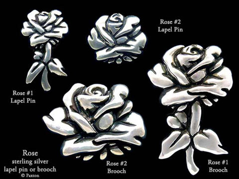 Rose Flower lapel Pin Brooch sterling silver