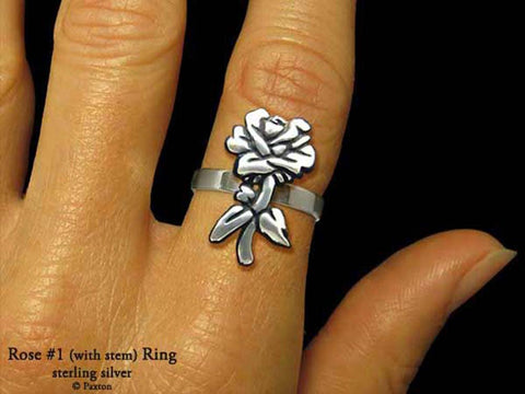 Rose Flower #1 ring sterling silver
