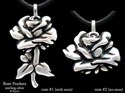 Rose Flower Pendant Necklace Sterling Silver