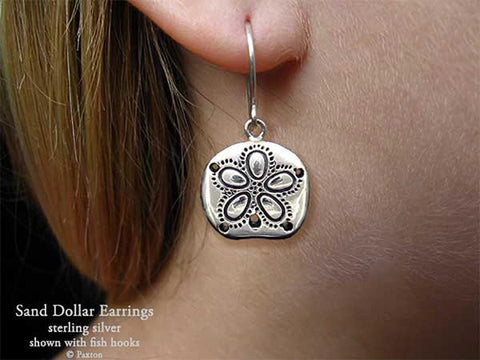 Sand Dollar Earrings fishhook sterling silver
